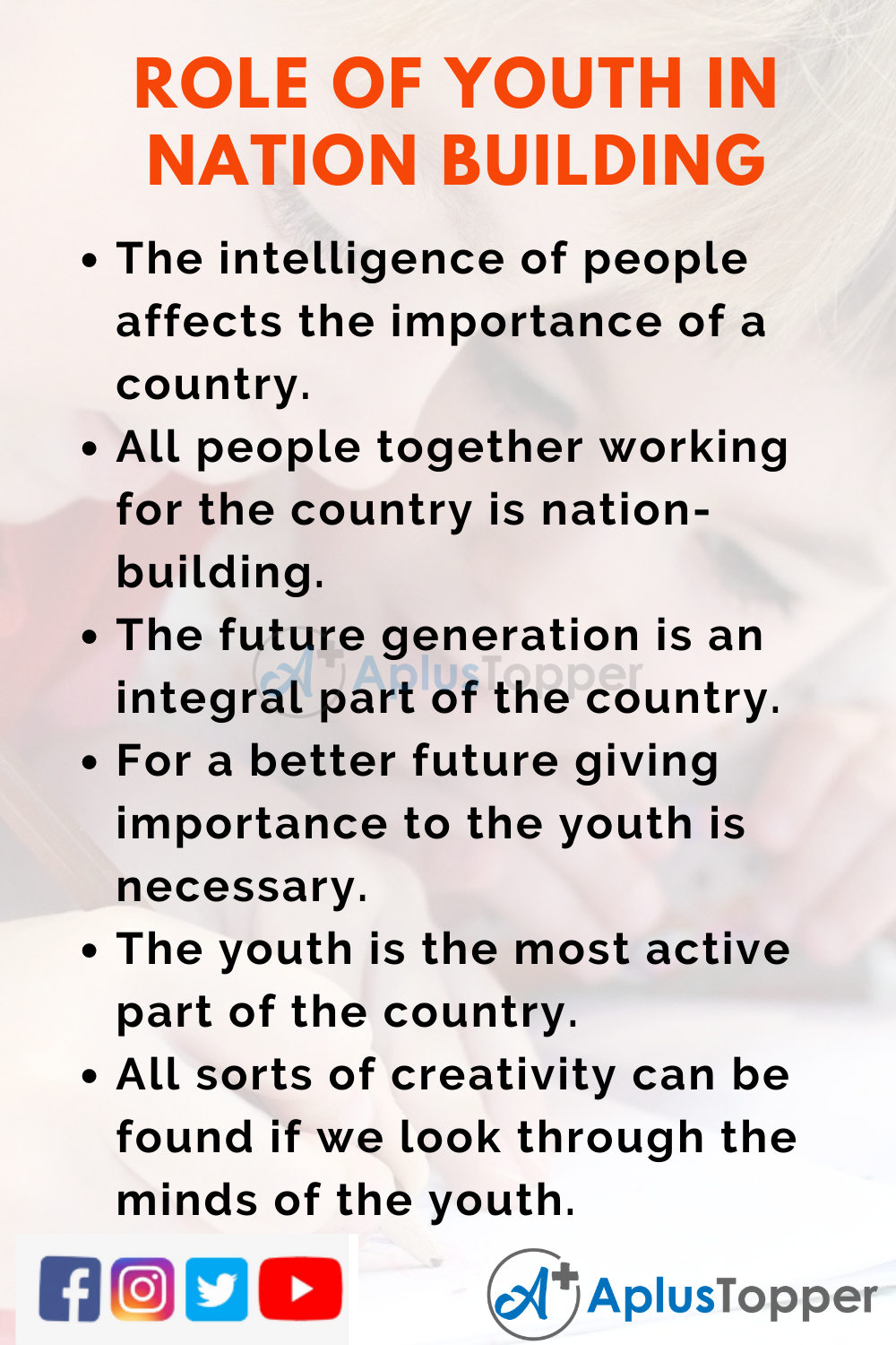 10 Lines On Role Of Youth In Nation Building for Kids