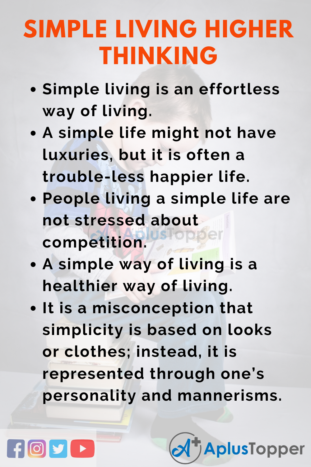 10 Lines On Simple Living Higher Thinking for Kids