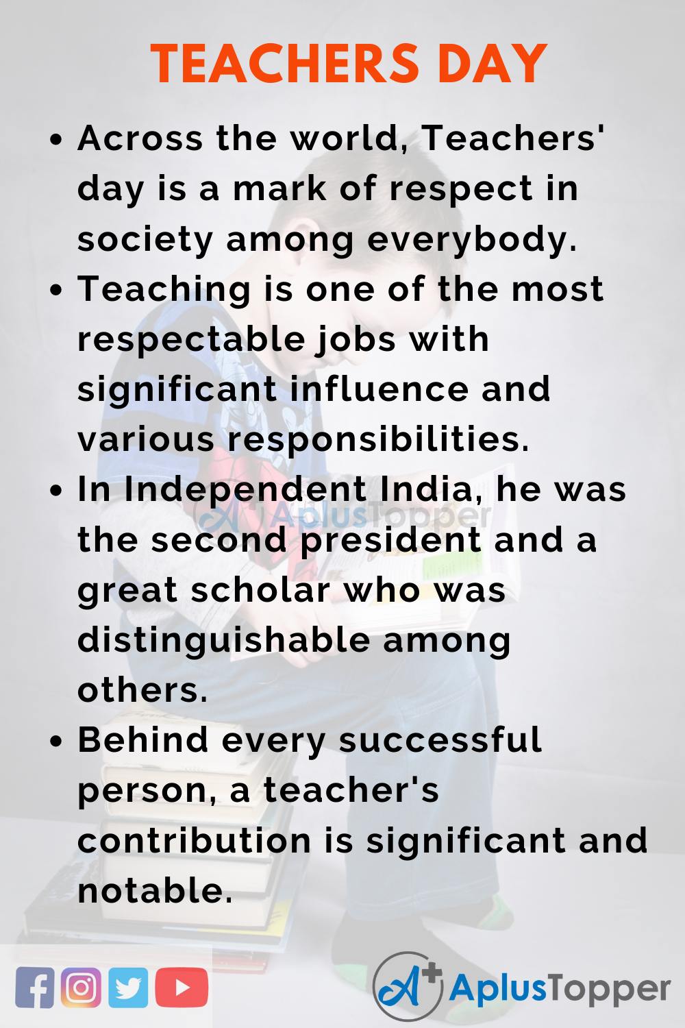 10 Lines On Teachers Day for Higher Class Students