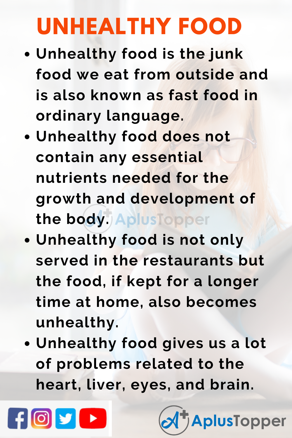 10 Lines On Unhealthy Food for Higher Class Students