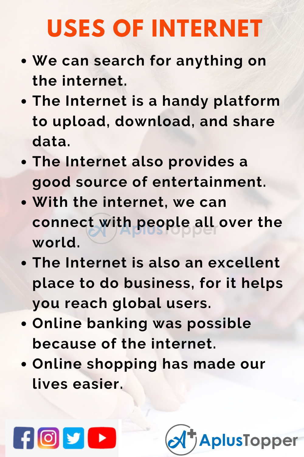 10 Lines On Uses Of Internet for Kids