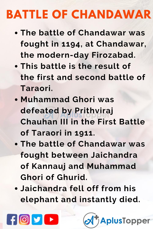10 Lines on Battle of Chandawar for Kids