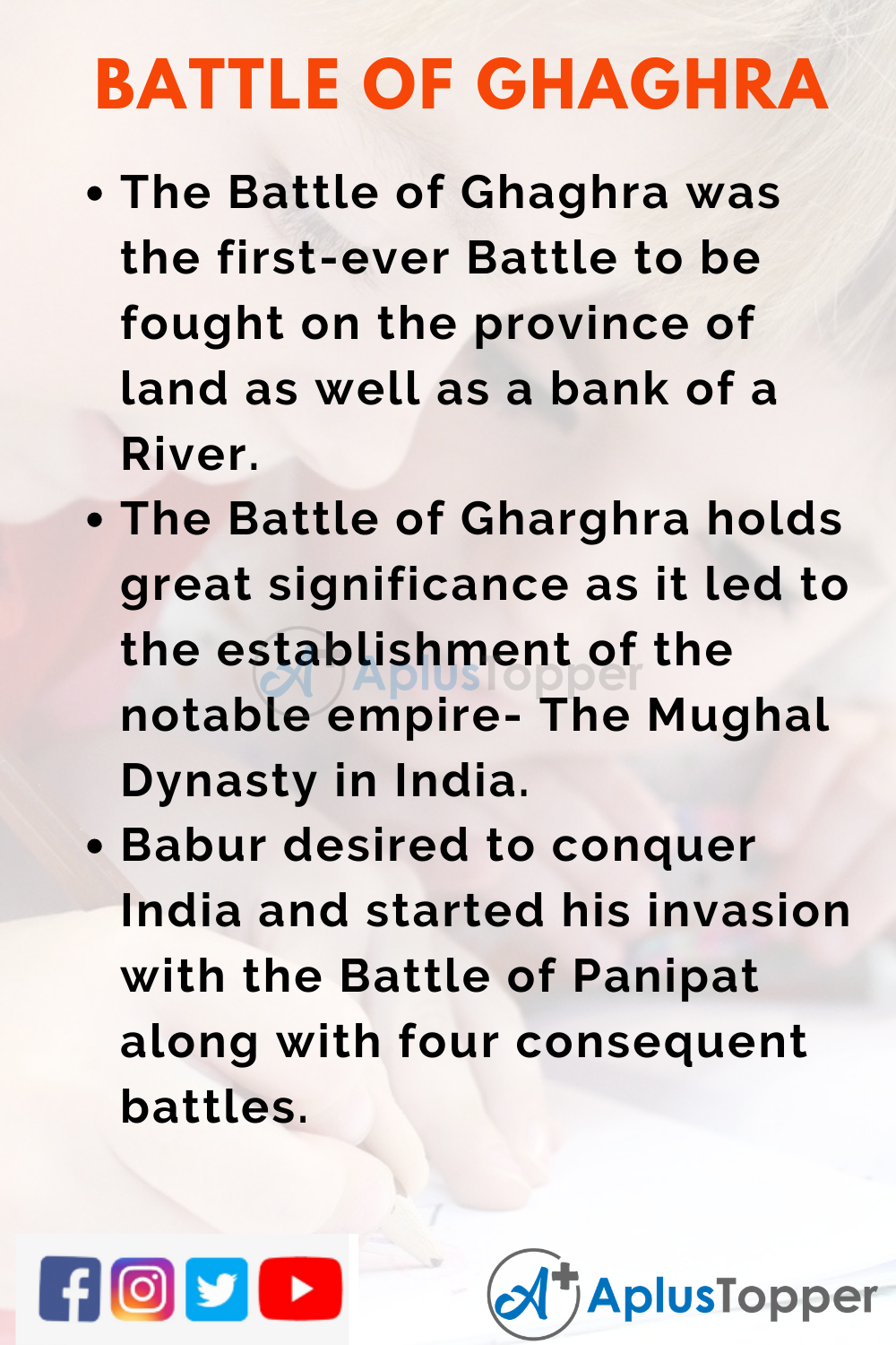 10 Lines on Battle of Ghaghra for Higher Class Students