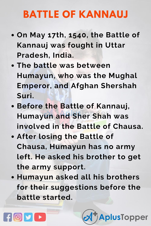 10 Lines on Battle of Kannauj for Kids