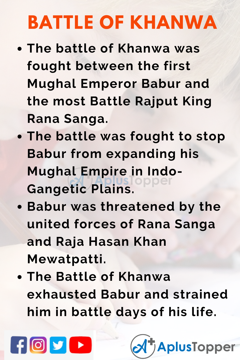 10 Lines on Battle of Khanwa for Higher Class Students