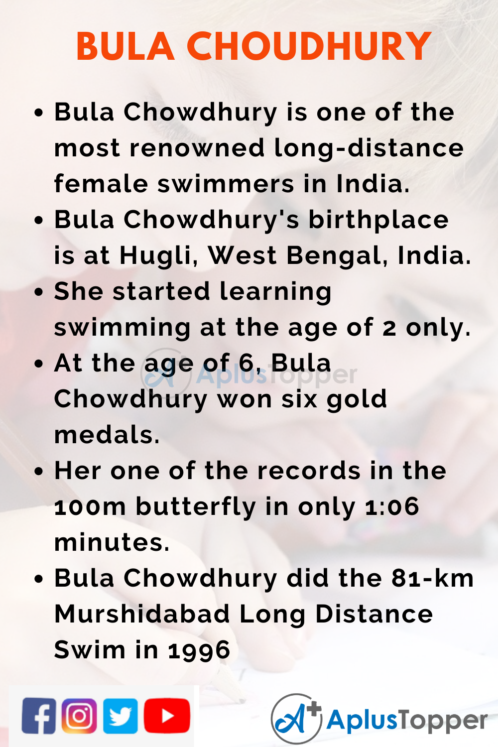 10 Lines on Bula Choudhury for Kids