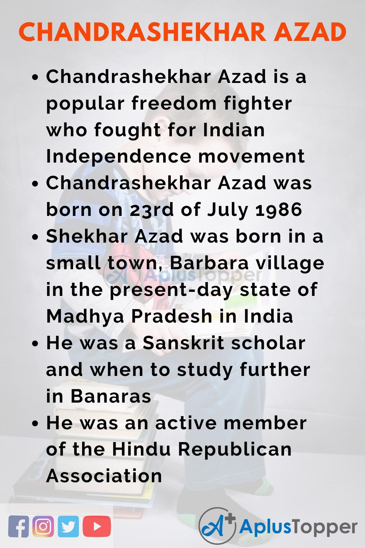 10 Lines on Chandrashekhar Azad for Kids