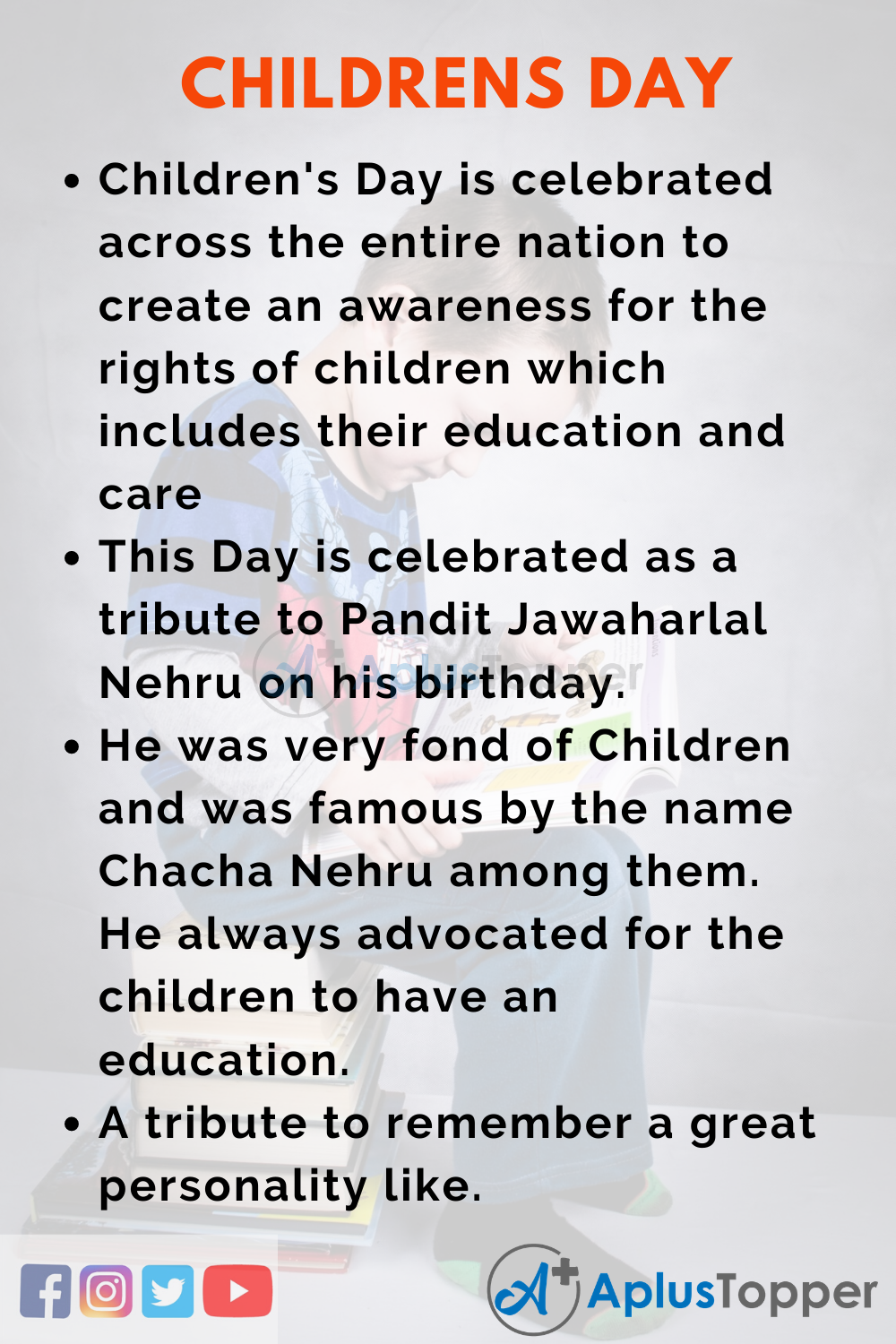 10 Lines on Children's Day for Higher Class Students