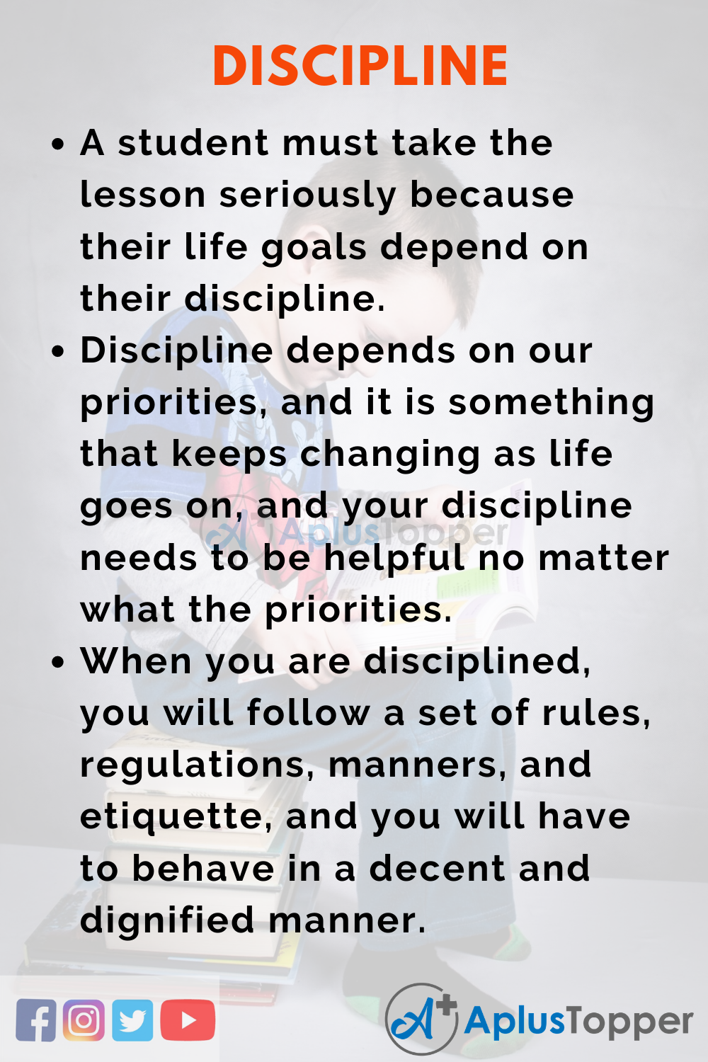 10 Lines on Discipline for Higher Class Students