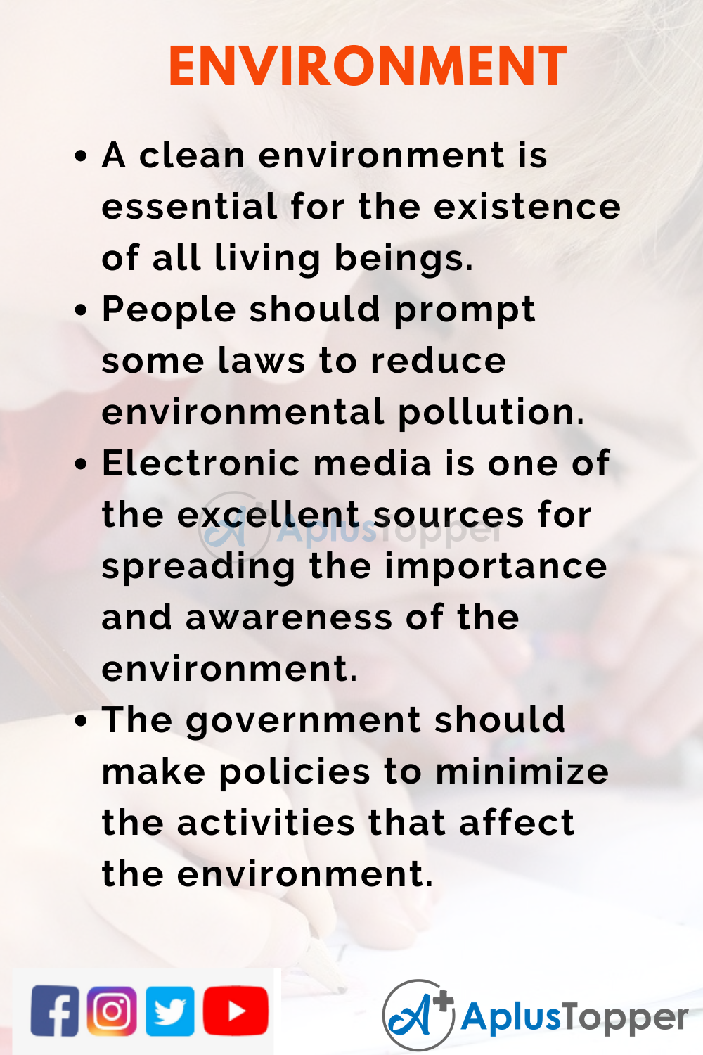 10 Lines on Environment for Kids