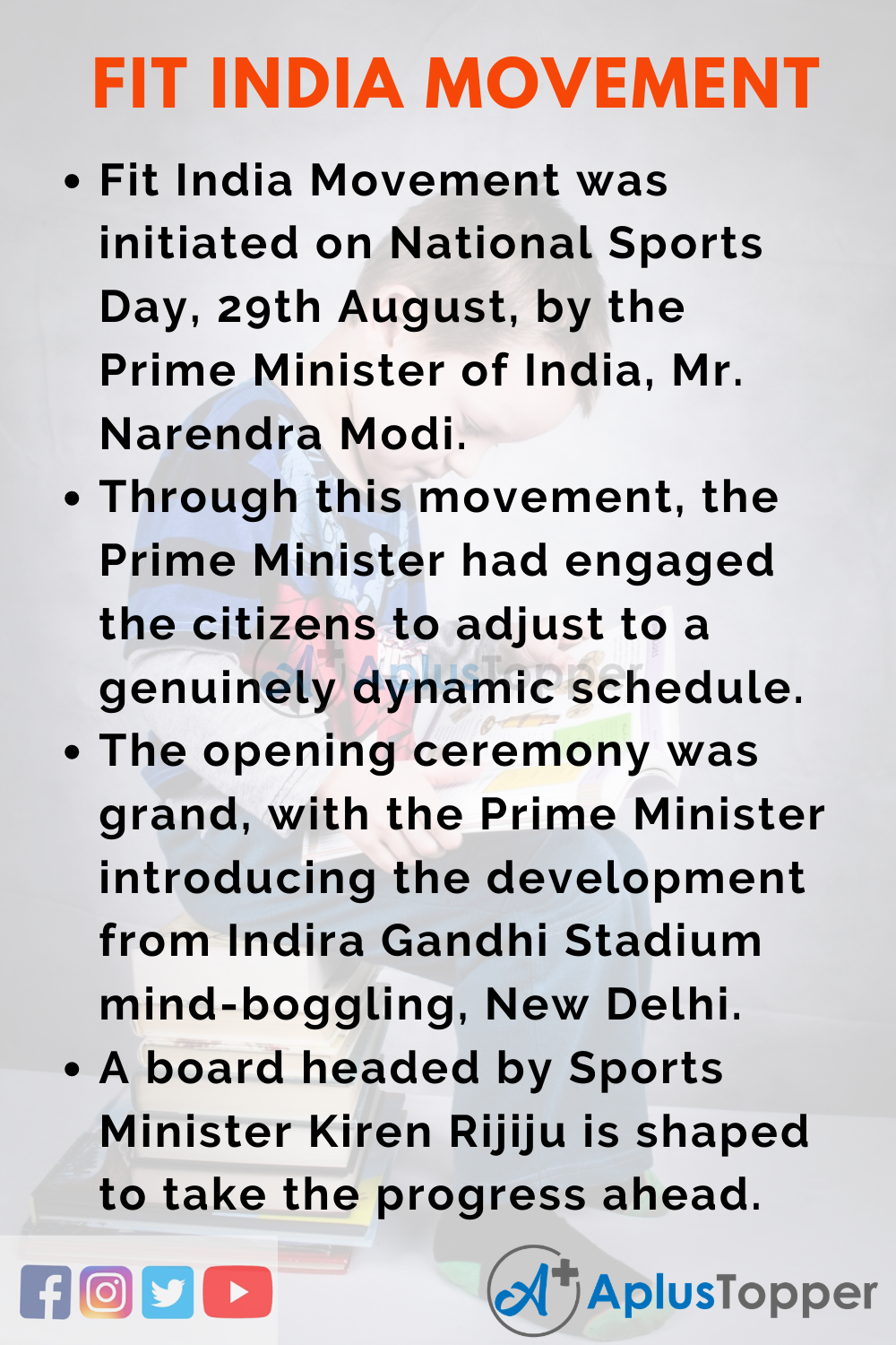 10 Lines on Fit India Movement for Higher Class Students