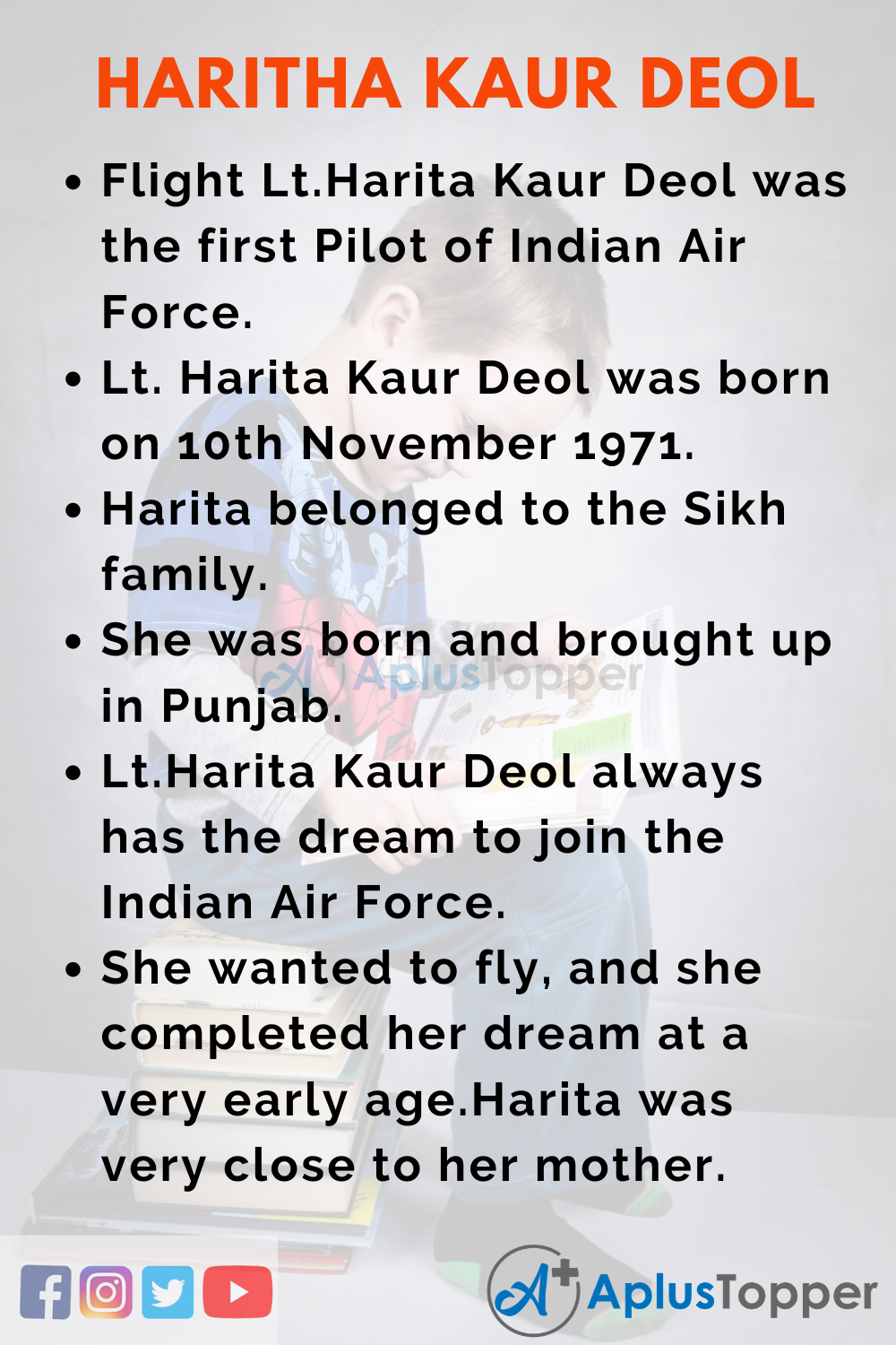 10 Lines on Flight Lt.Harita Kaur Deol for Kids