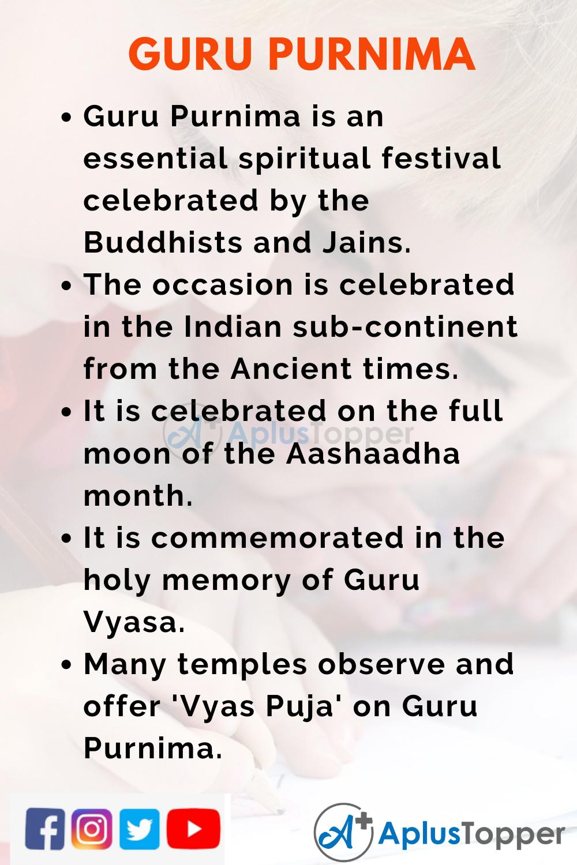 10 Lines on Guru Purnima for Kids