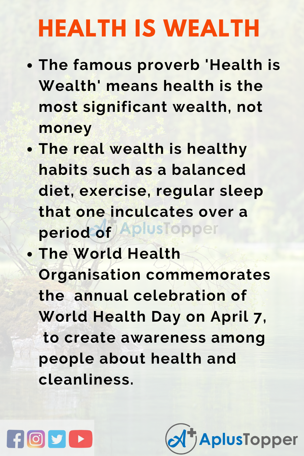 10 Lines on Health is Wealth Essay in English