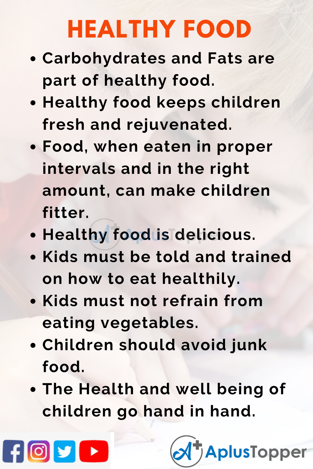 10 Lines on Healthy Food for Kids