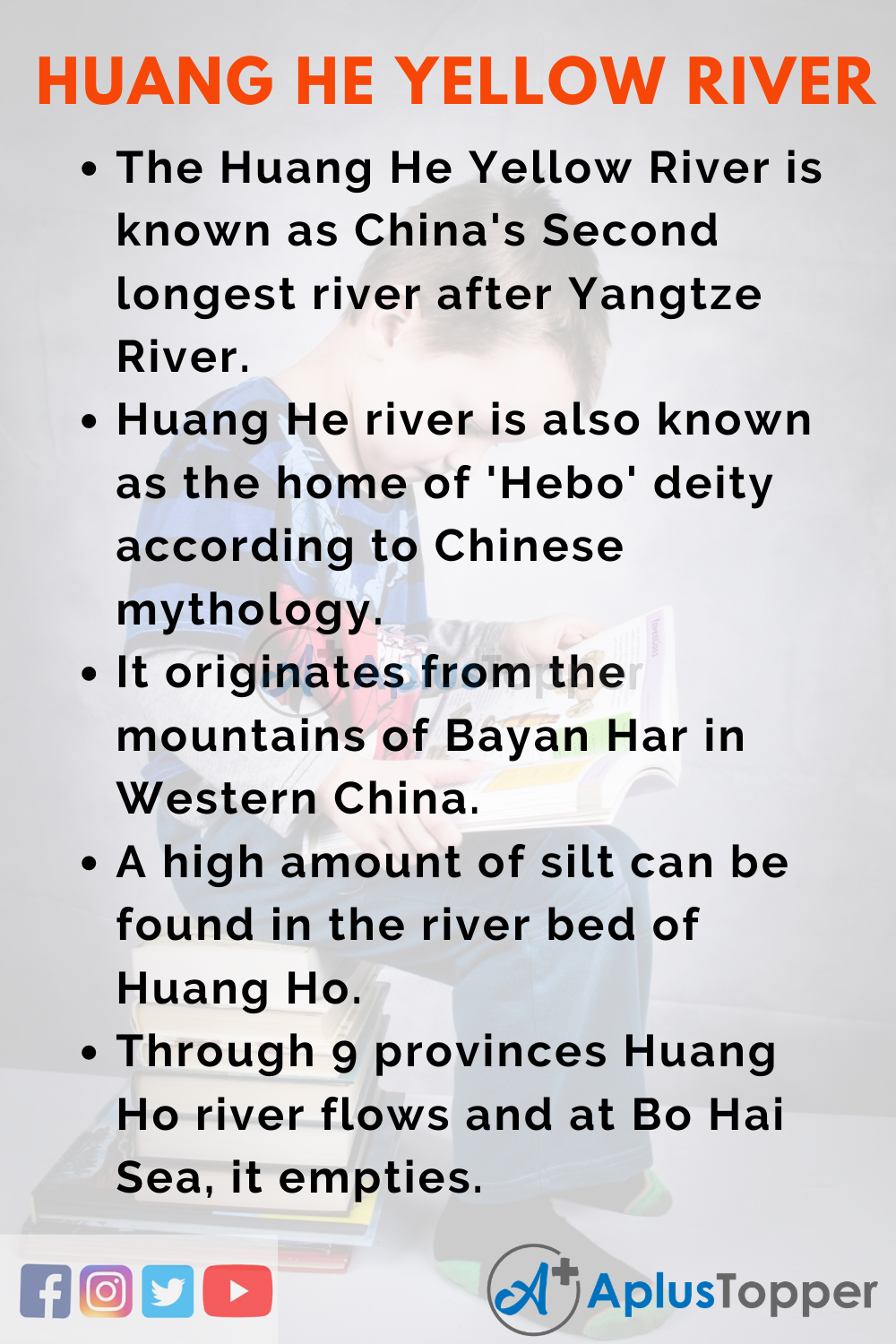 10 Lines on Huang He Yellow River for Kid