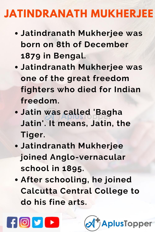 10 Lines on Jatindranath Mukherjee for Kids