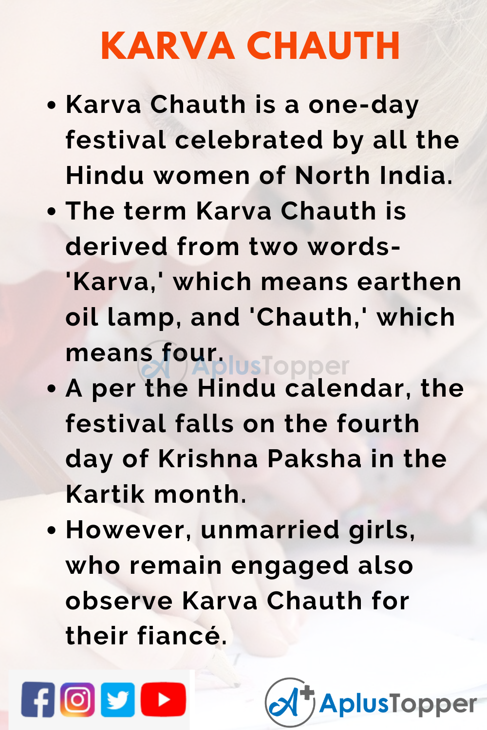 10 Lines on Karva Chauth for Higher Class Students
