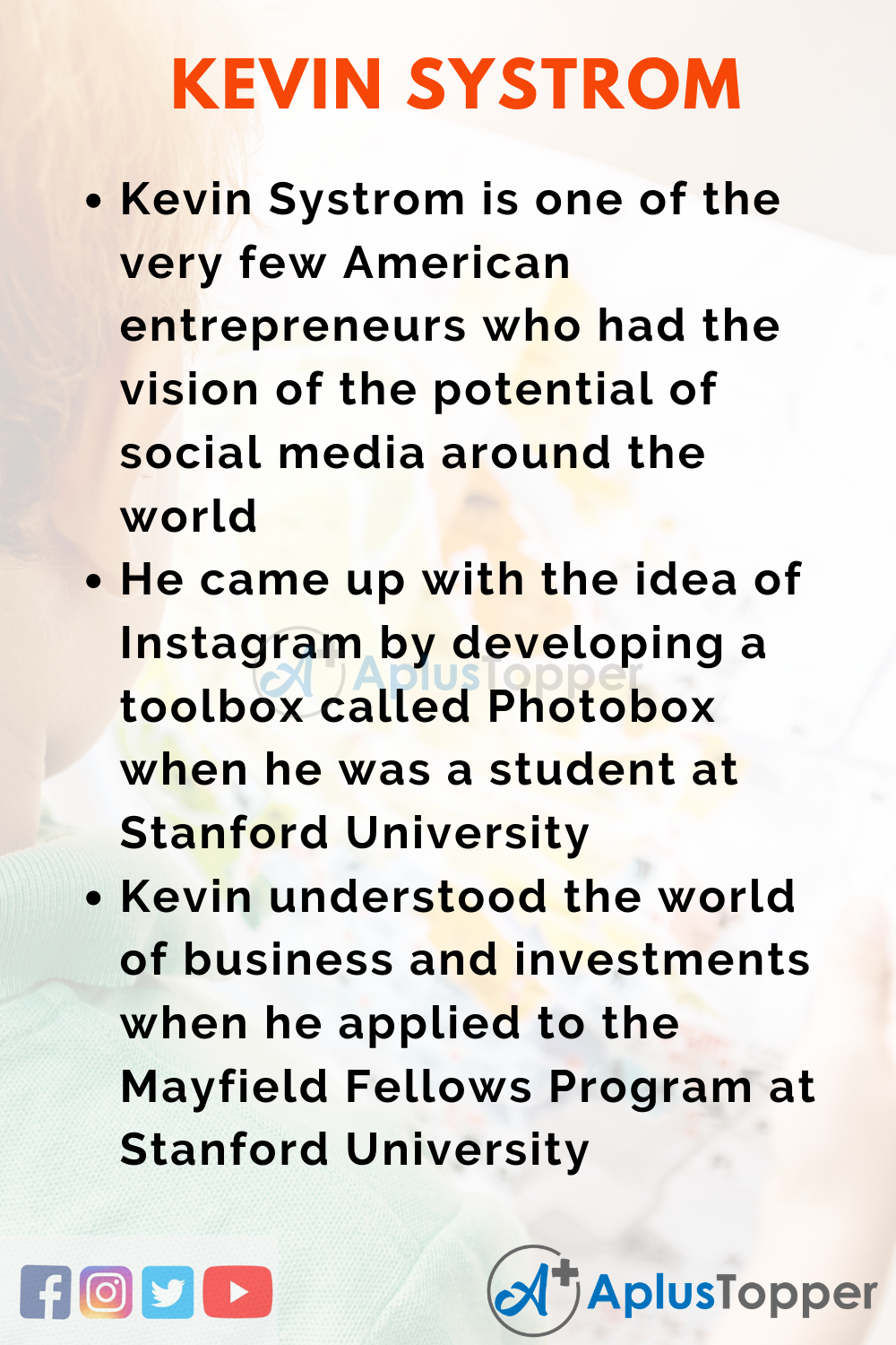 10 Lines on Kevin Systrom for Higher Class Students