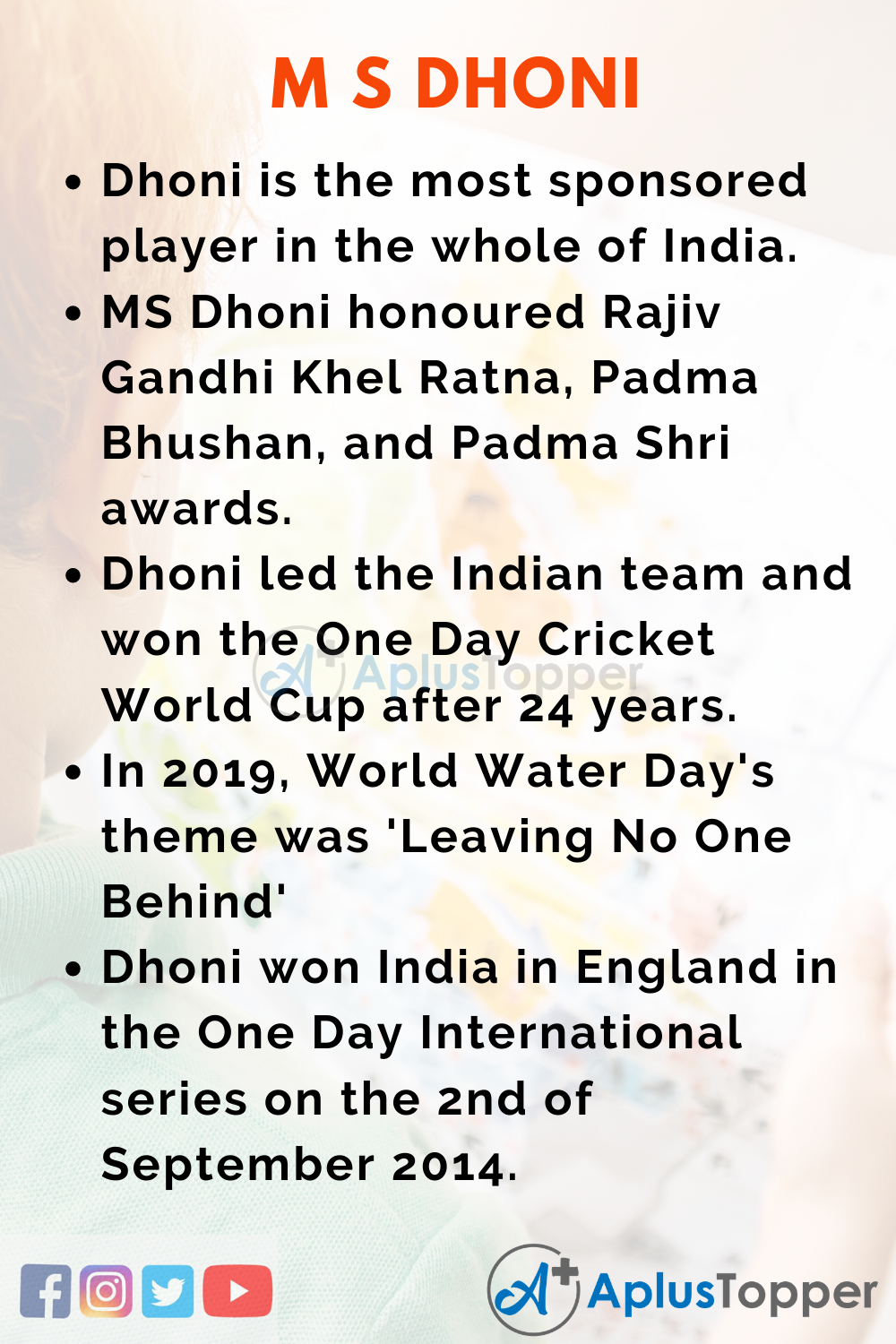 10 Lines on MS Dhoni for Higher Class Students