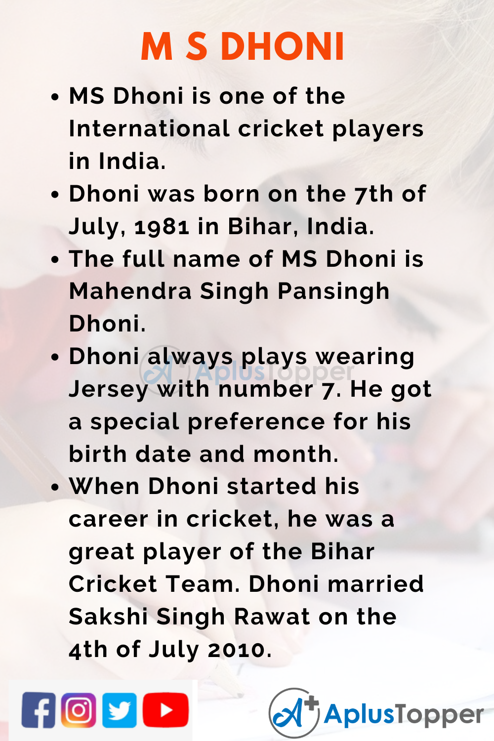 10 Lines on MS Dhoni for Kids