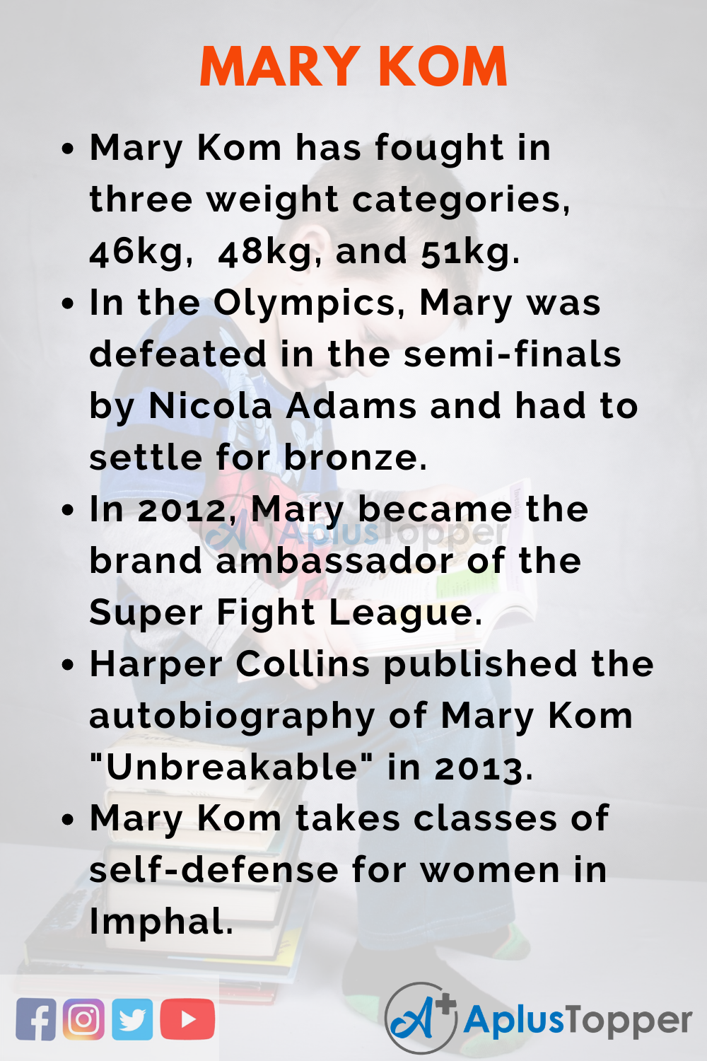 10 Lines on Mary Kom for Higher Class Students