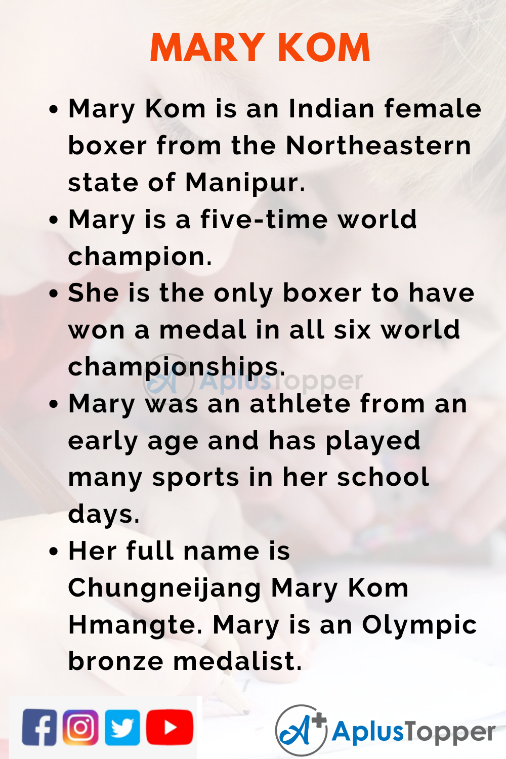 10 Lines on Mary Kom for Kids