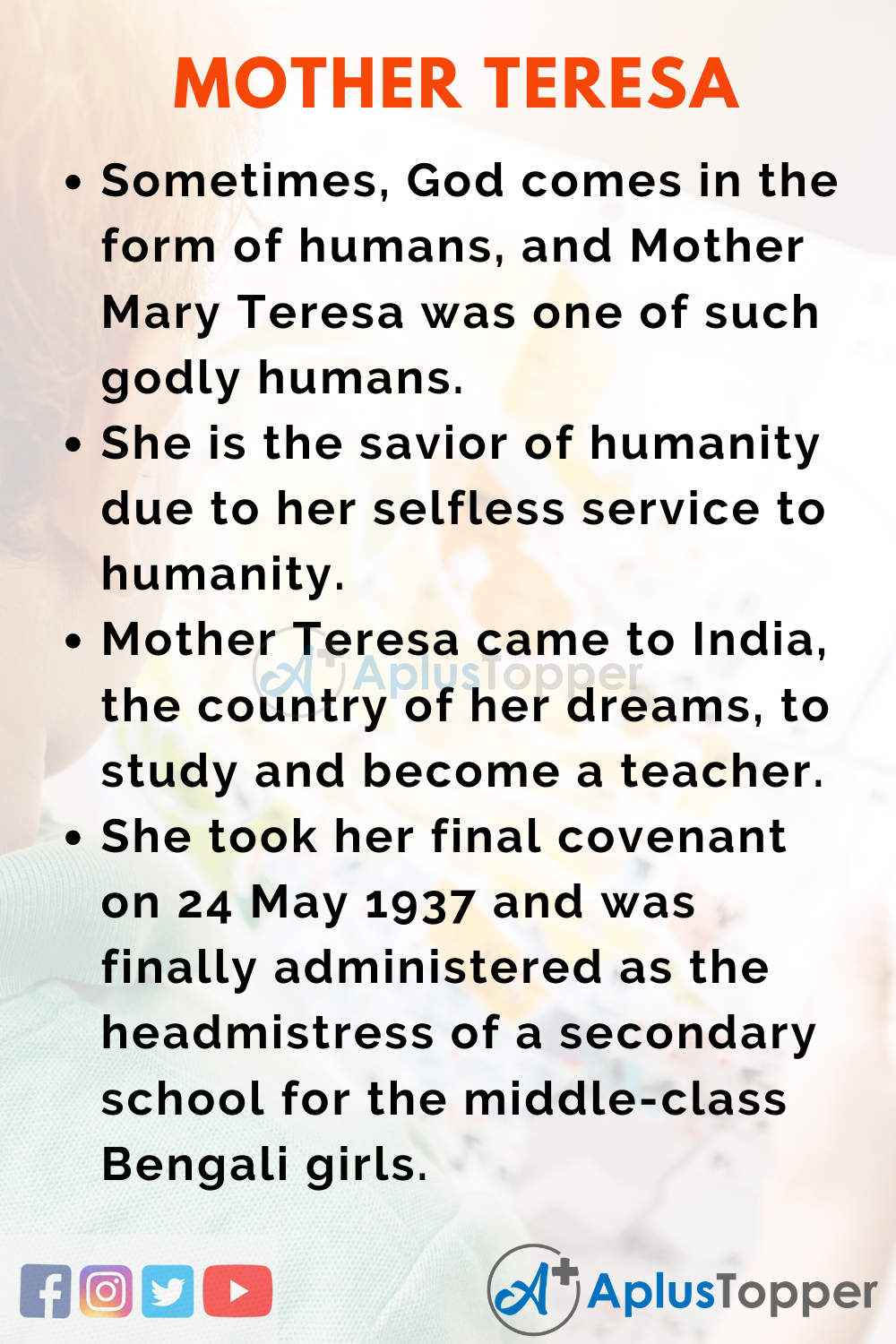 10 Lines on Mother Teresa for Higher Class Students