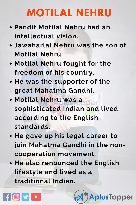 10 Lines on Motilal Nehru for Kids