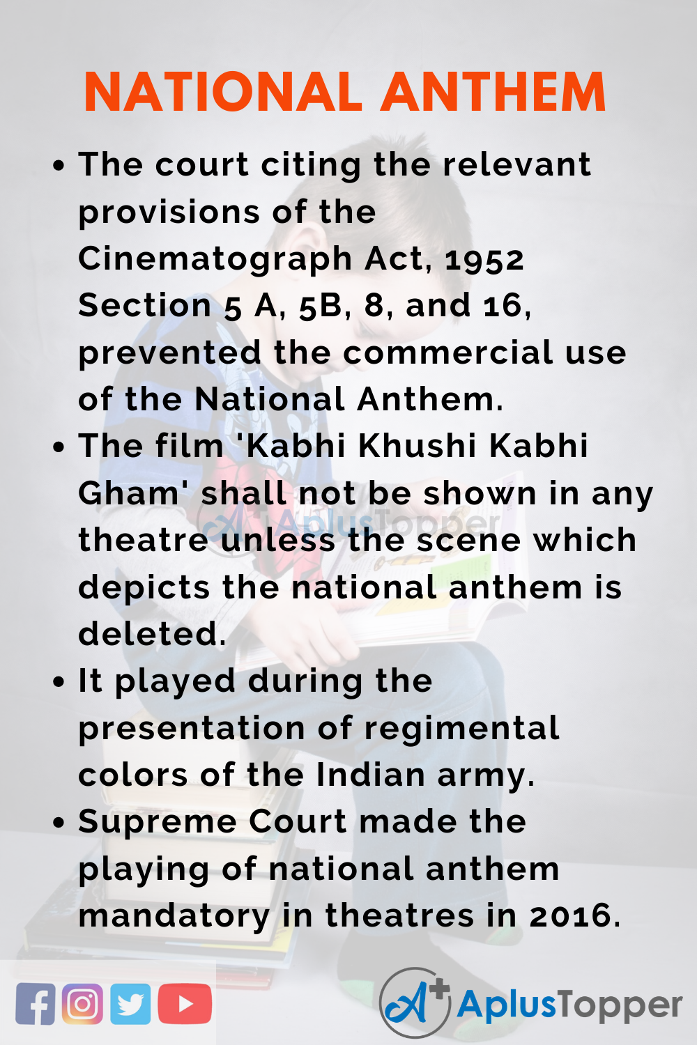 10 Lines on National Anthem for Higher Class Students