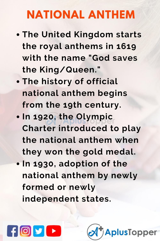 10 Lines on National Anthem for Kids