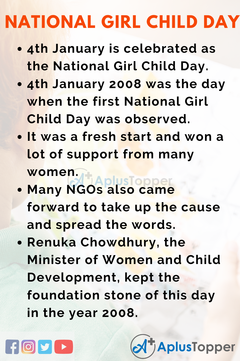 10 Lines on National Girl Child Day for Kids