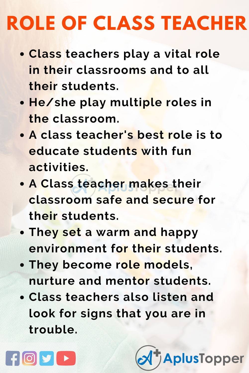 10 Lines on Role of Class Teacher for Kids