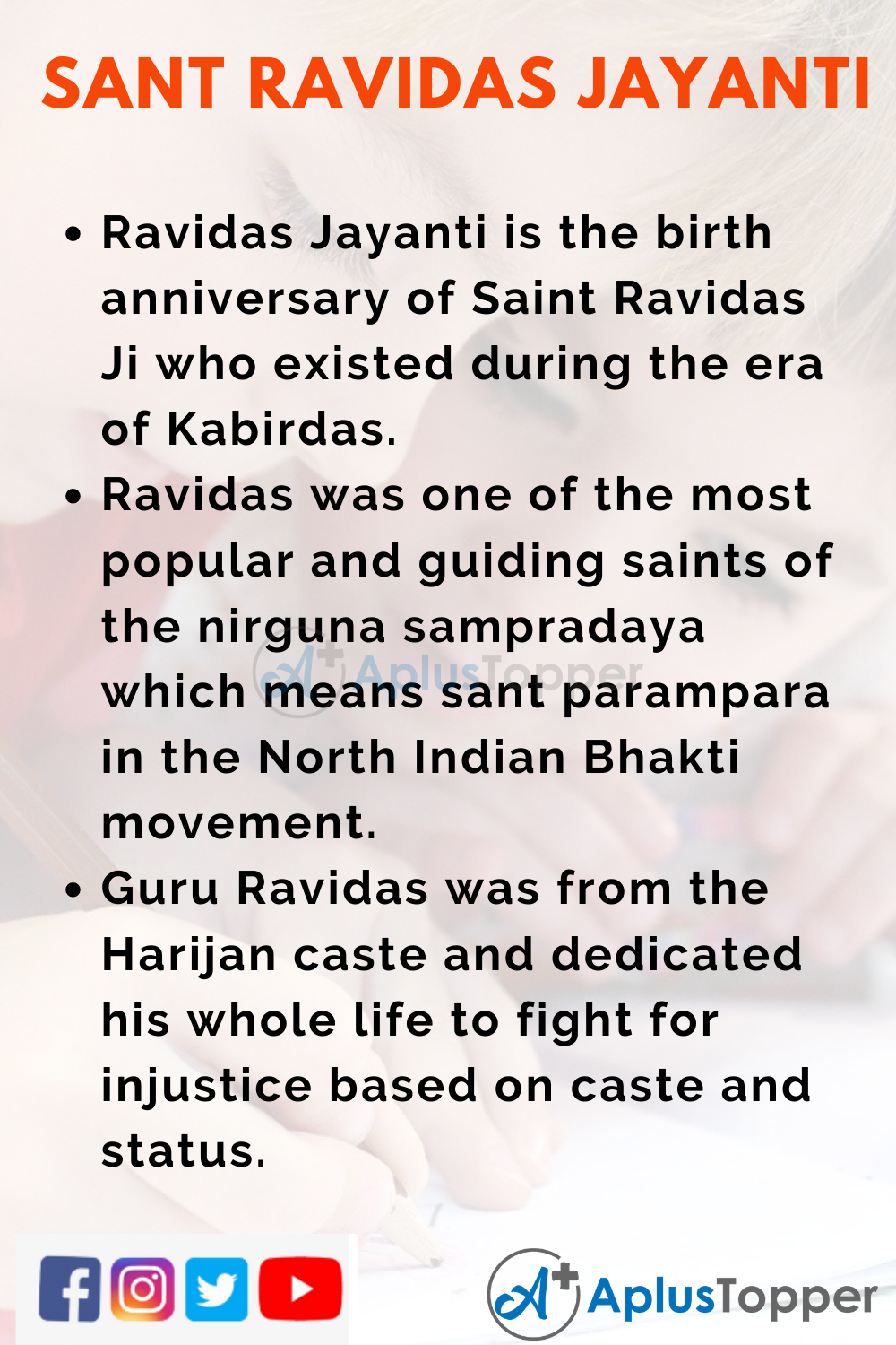 10 Lines on Sant Ravidas Jayanti for Higher Class Students