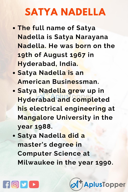 10 Lines on Satya Nadella for Kids