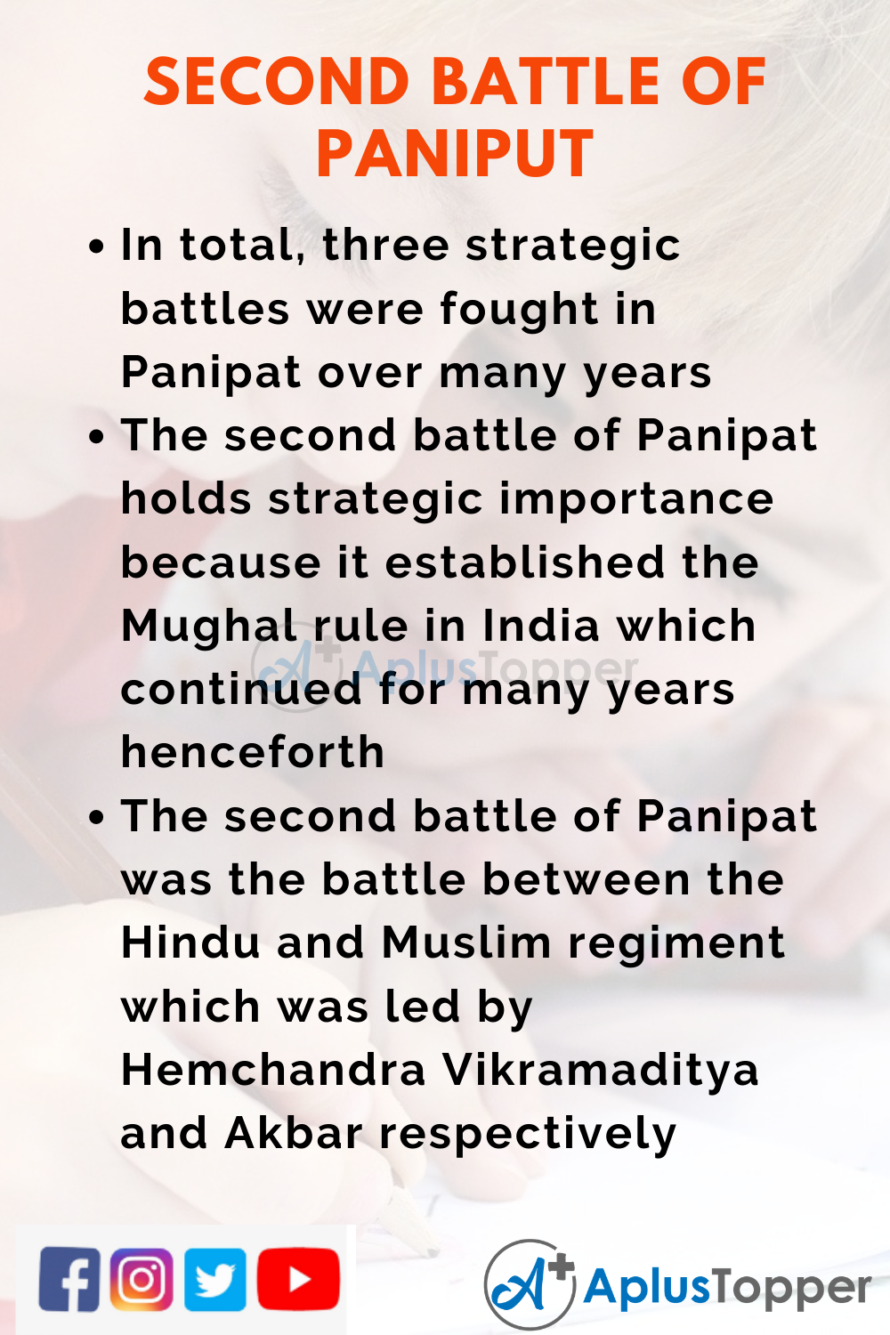 10 Lines on Second Battle Of Panipat for Higher Class Students