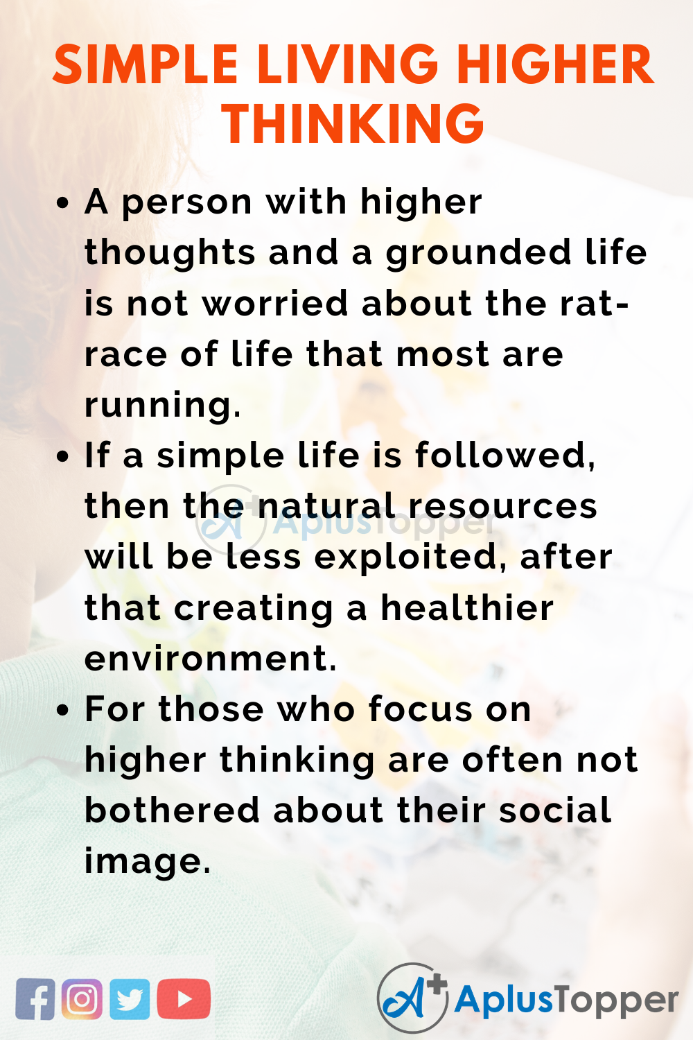 10 Lines on Simple Living Higher Thinking for Higher Class Students