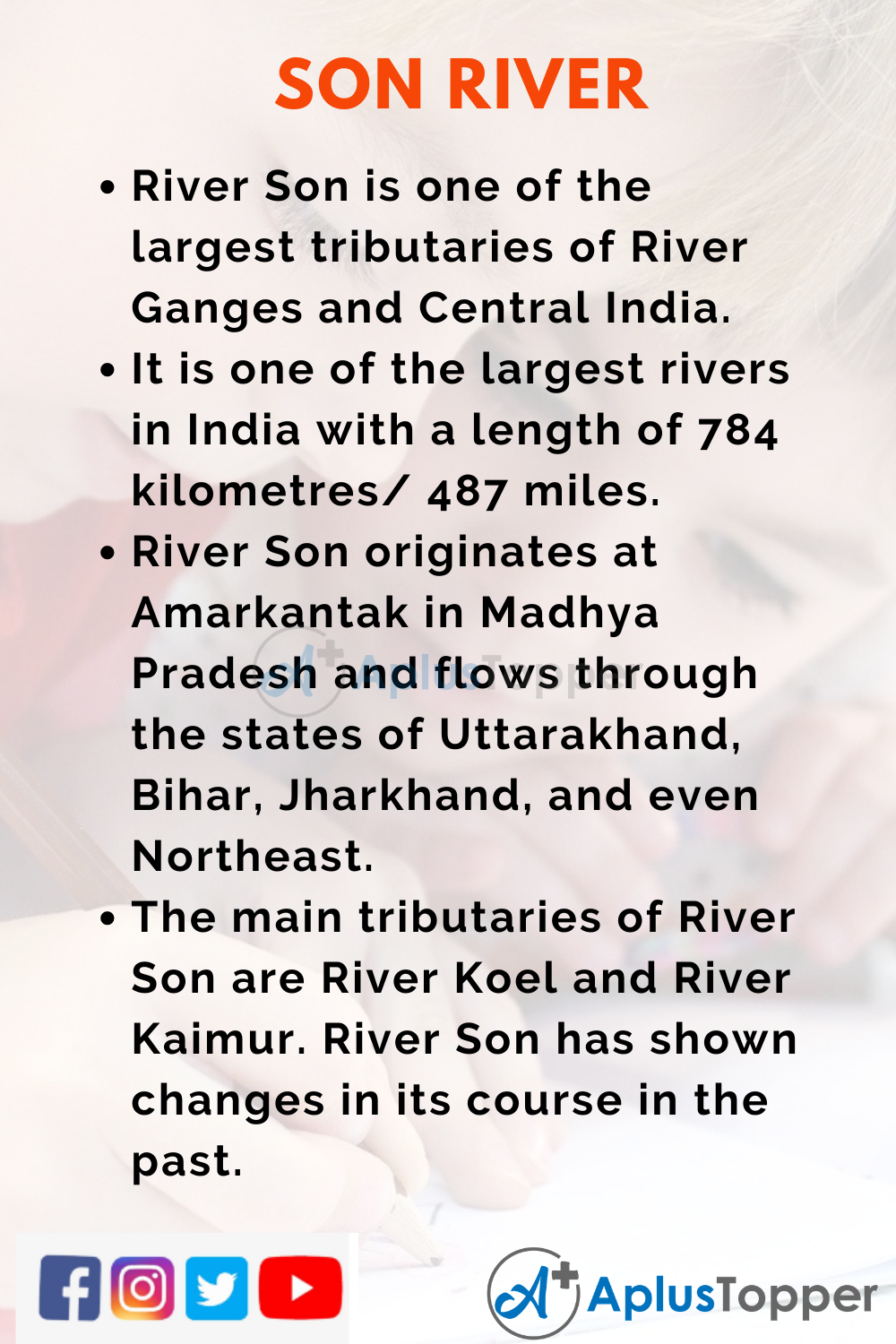 10 Lines on Son River for Kids