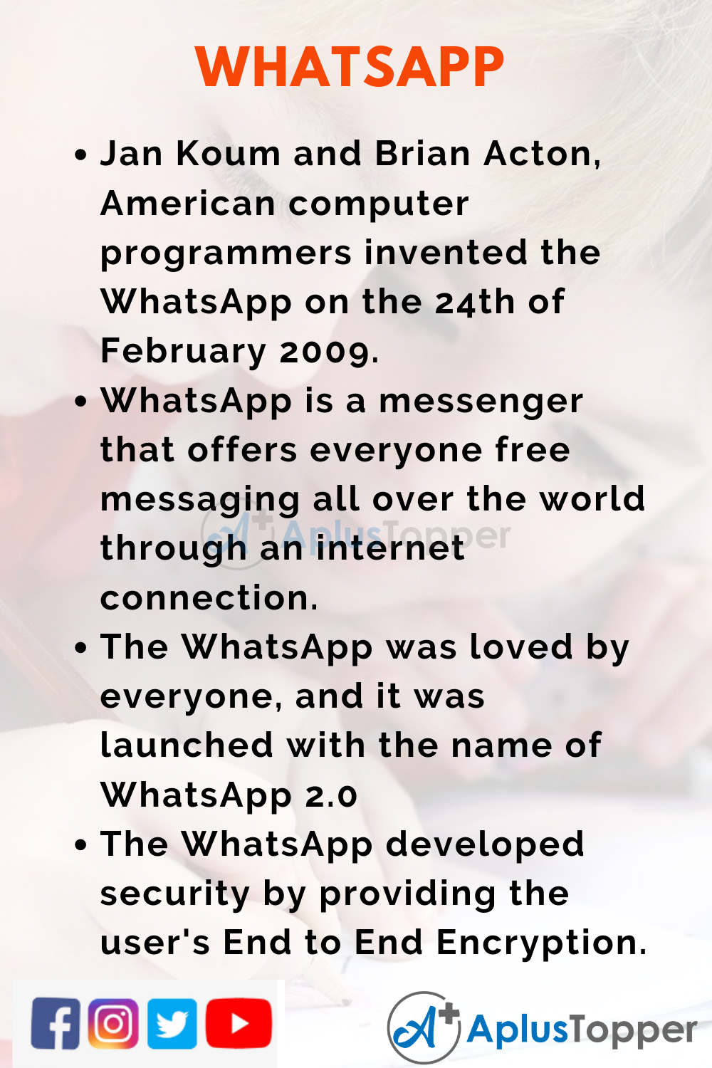 10 Lines on WhatsApp for Kids