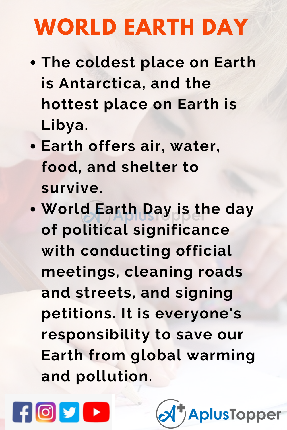 10 Lines on World Earth Day for Higher Class Students