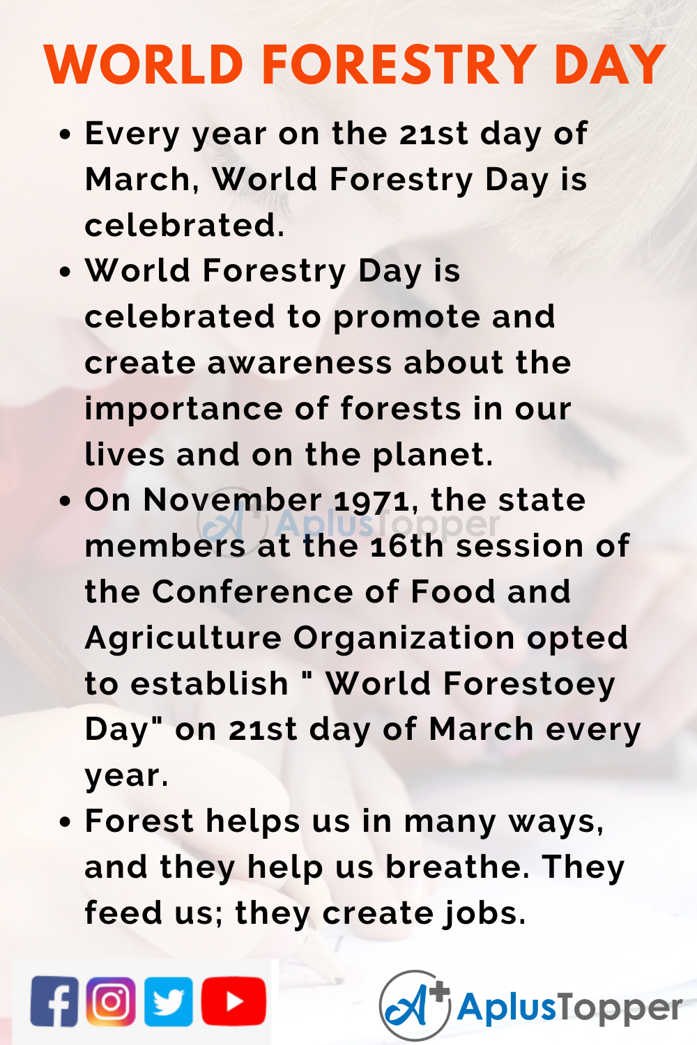 10 Lines on World Forestry Day for Kids