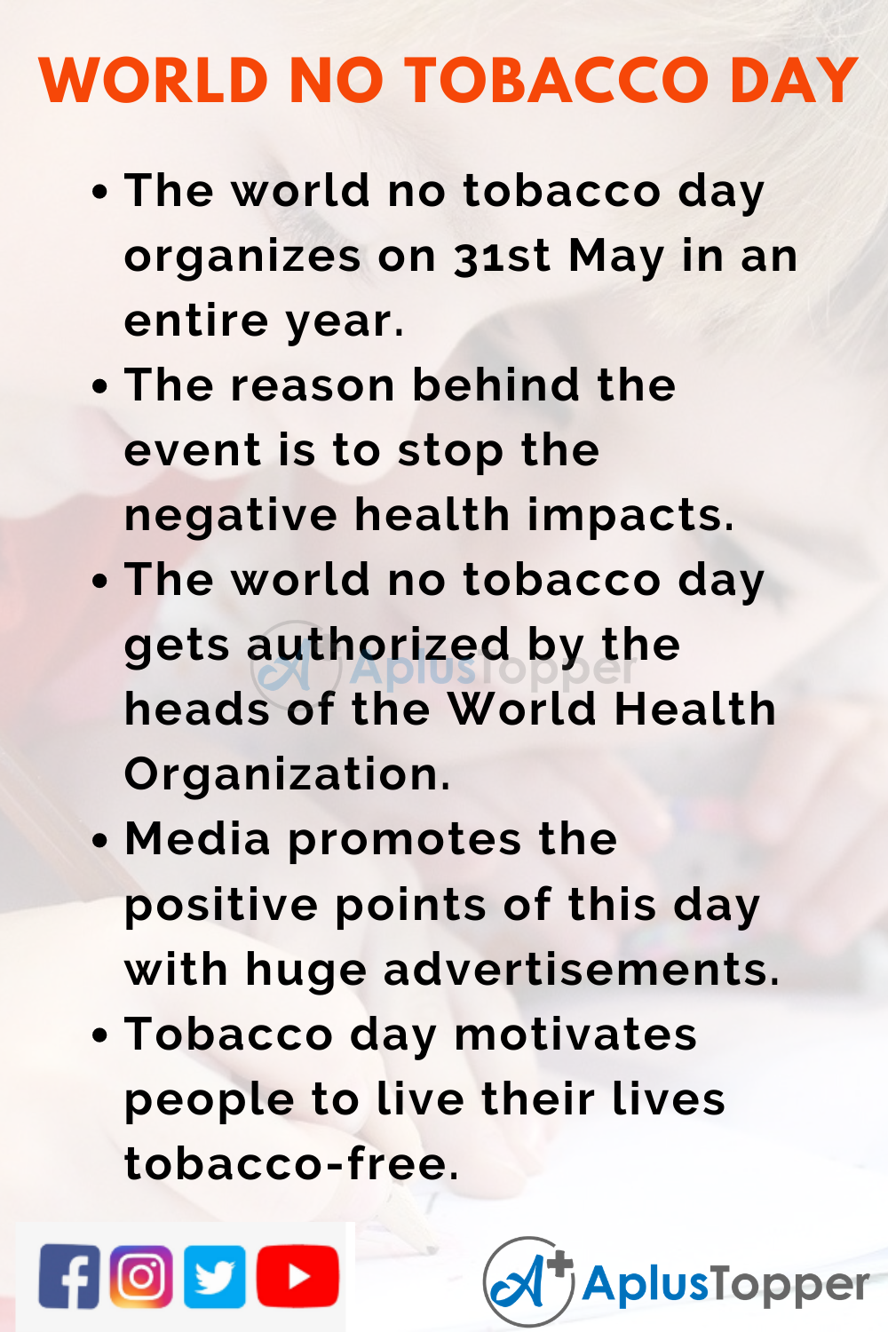 10 Lines on World No Tobacco Day for Kids