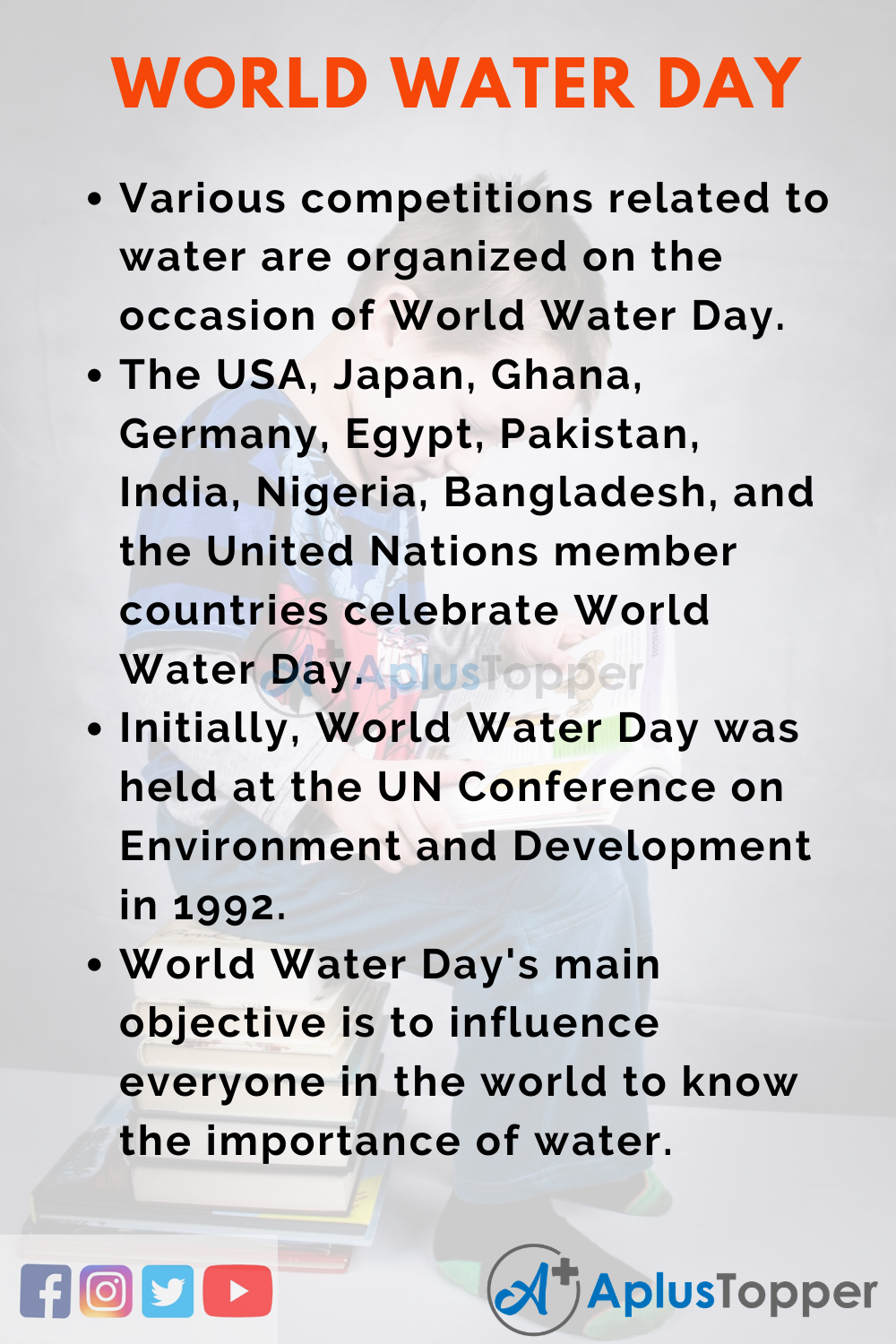 10 Lines on World Water Day for Higher Class Students