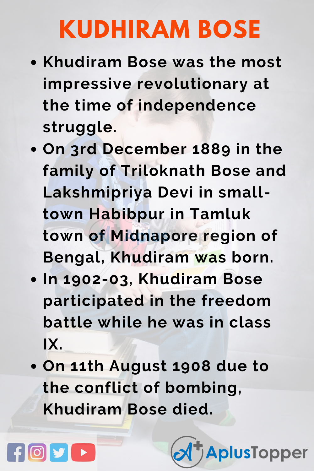 10 lines on Khudiram Bose for Higher Class Students