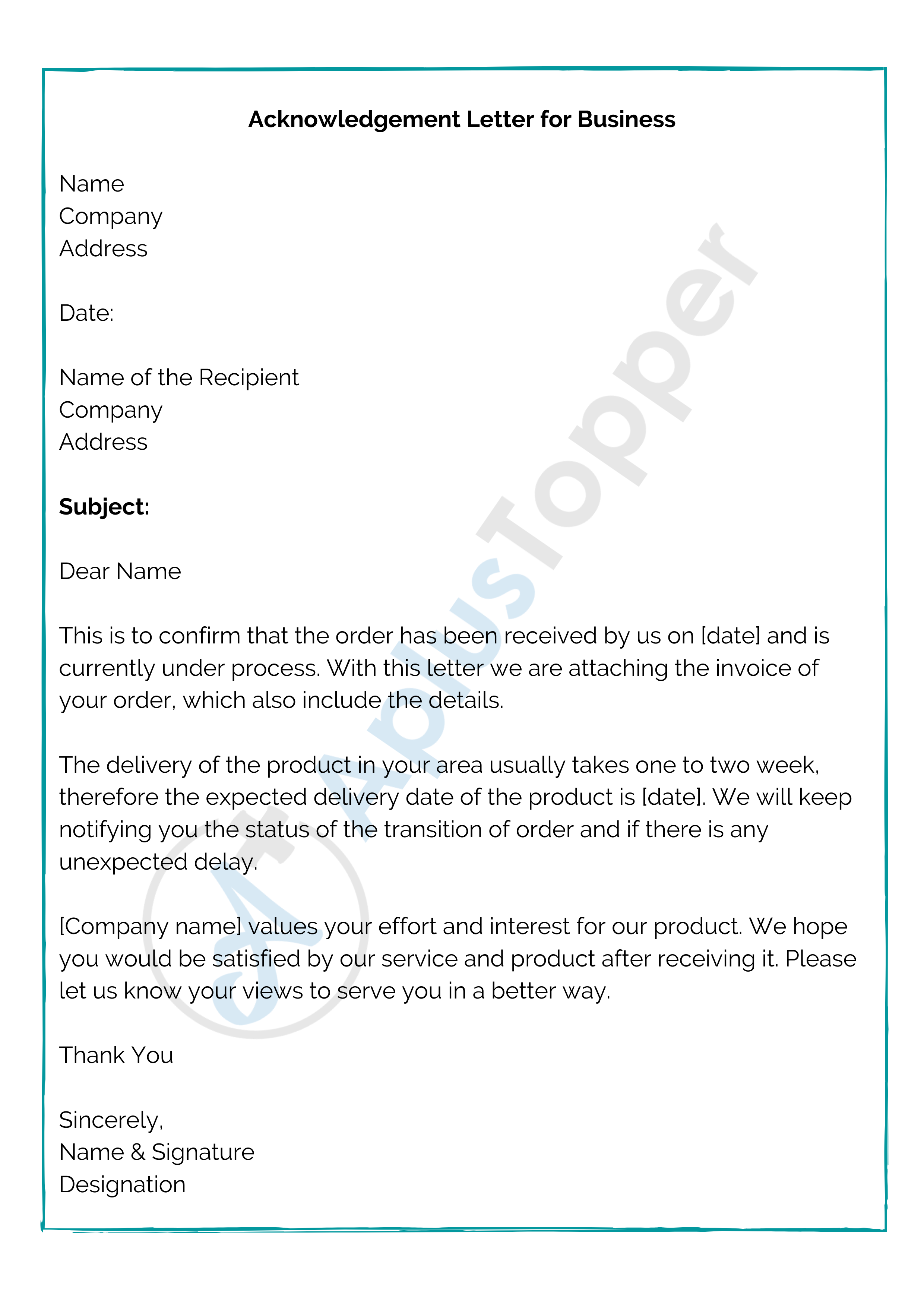 Acknowledgement Letter for Business