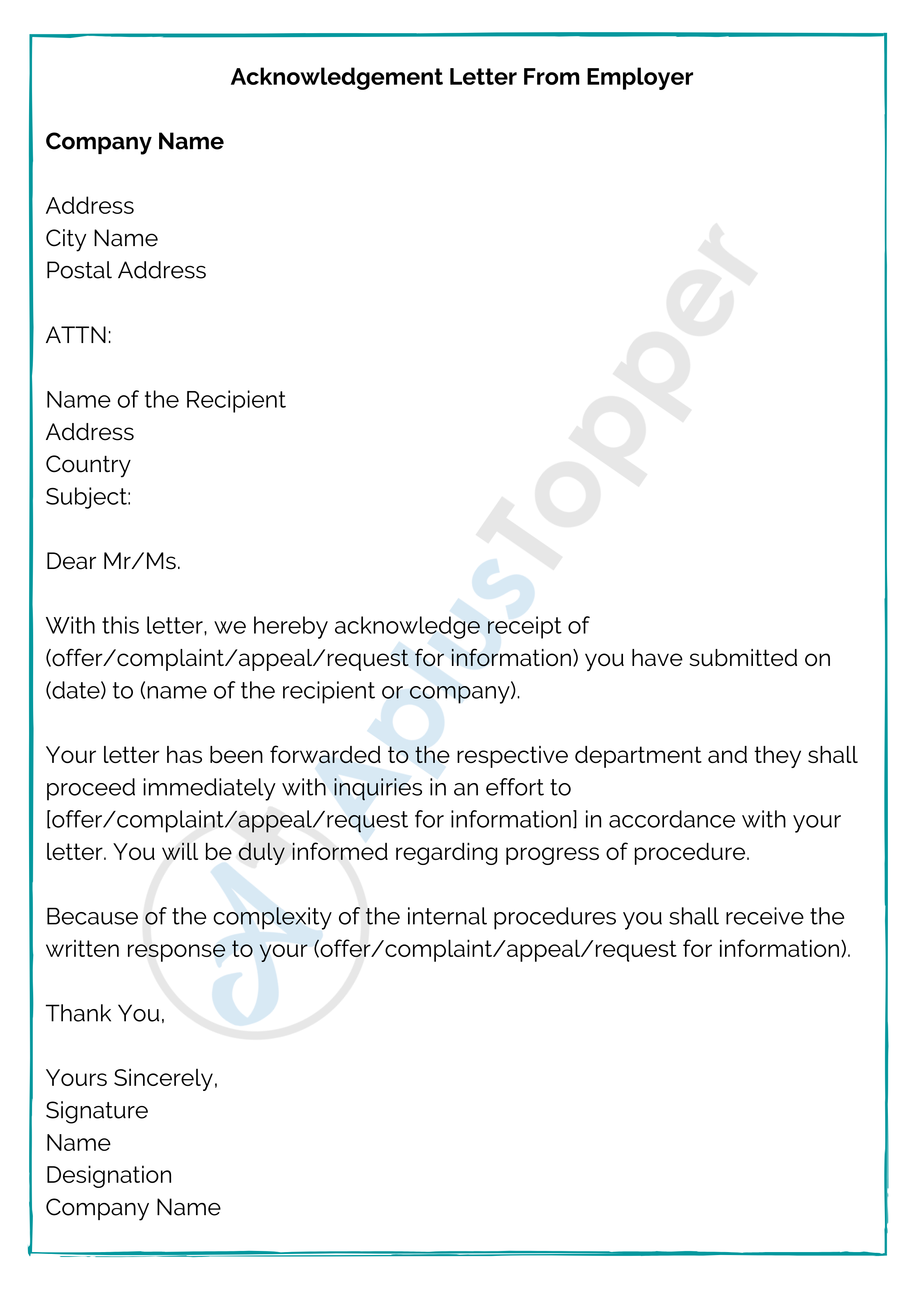 Acknowledgement Letter from Employer