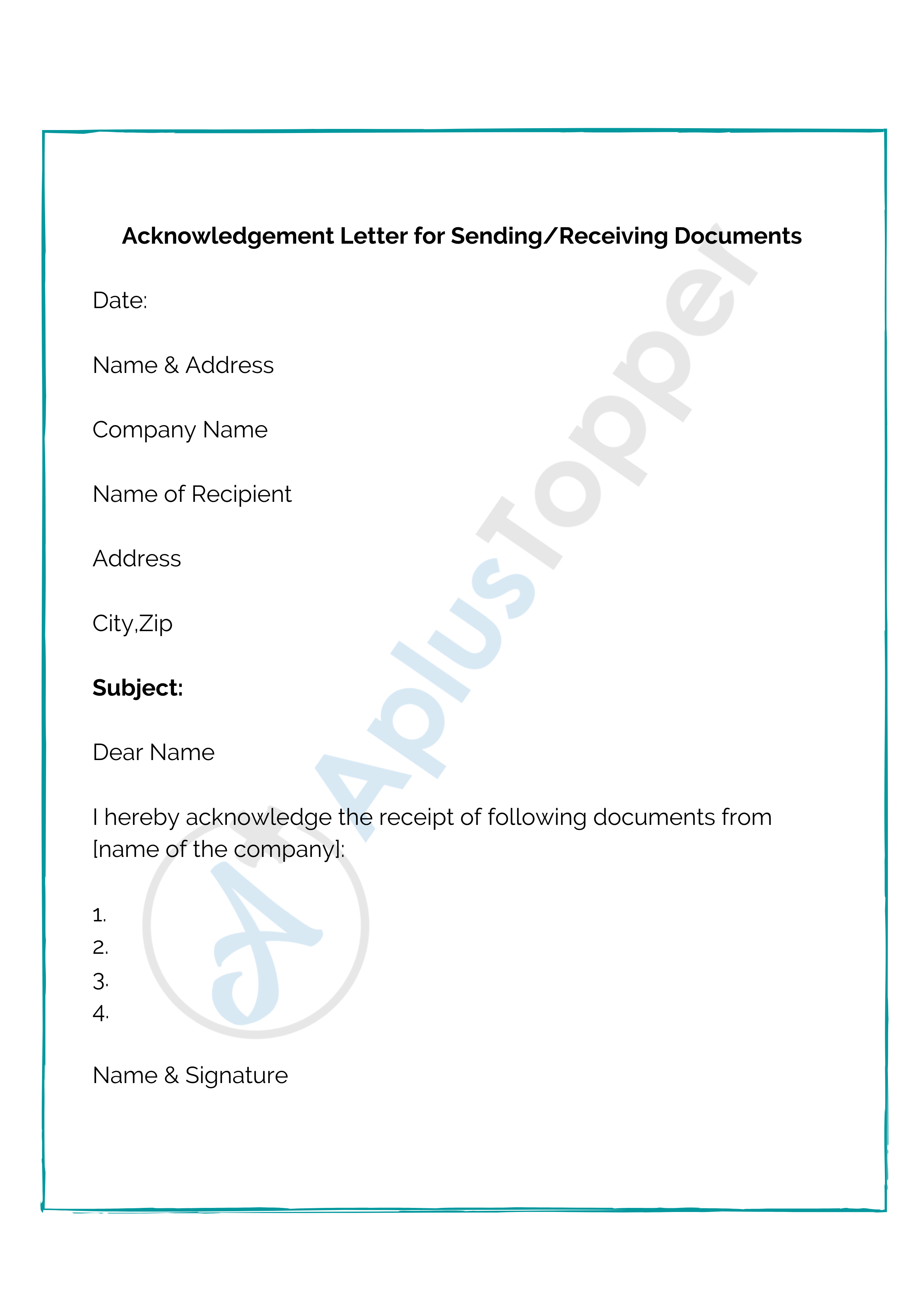 Acknowledgement of Receipt of Documents