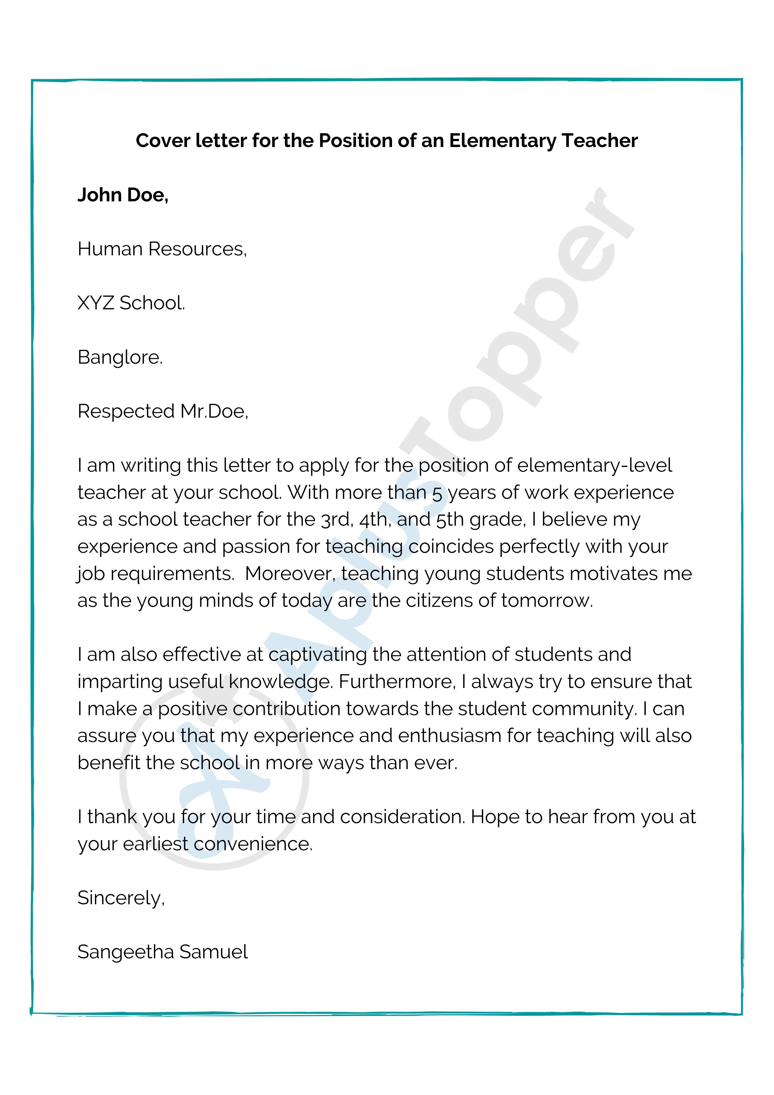 42 Cover Letter Sample Teacher Application For Teaching Job