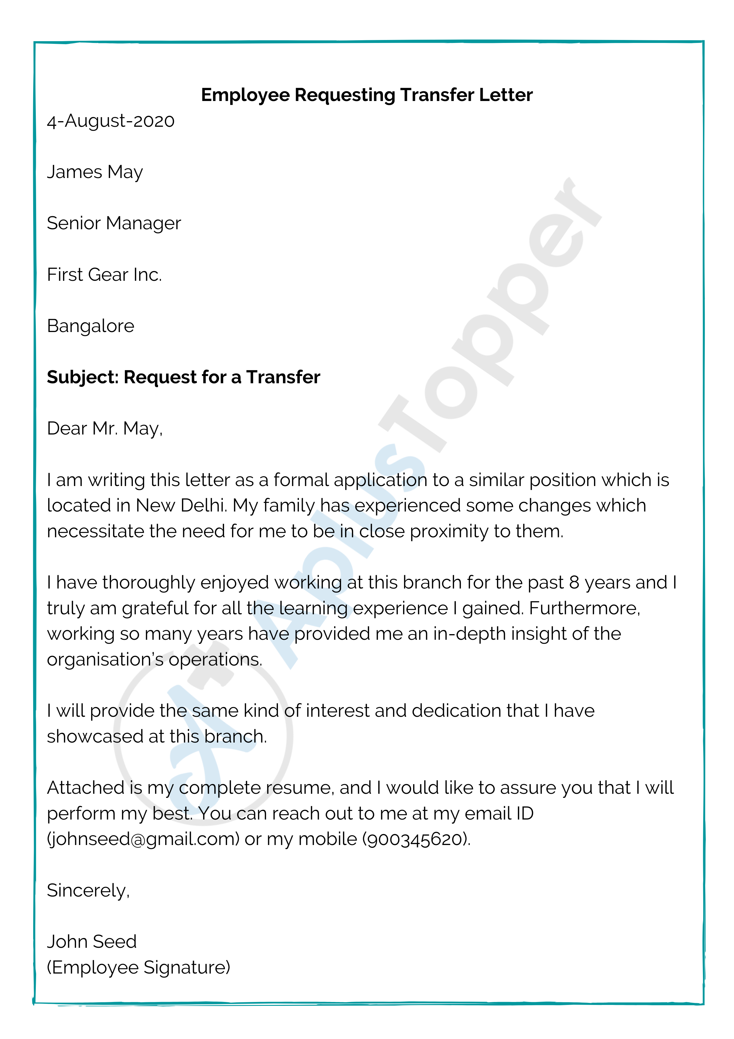 Employee Requesting Transfer Letter