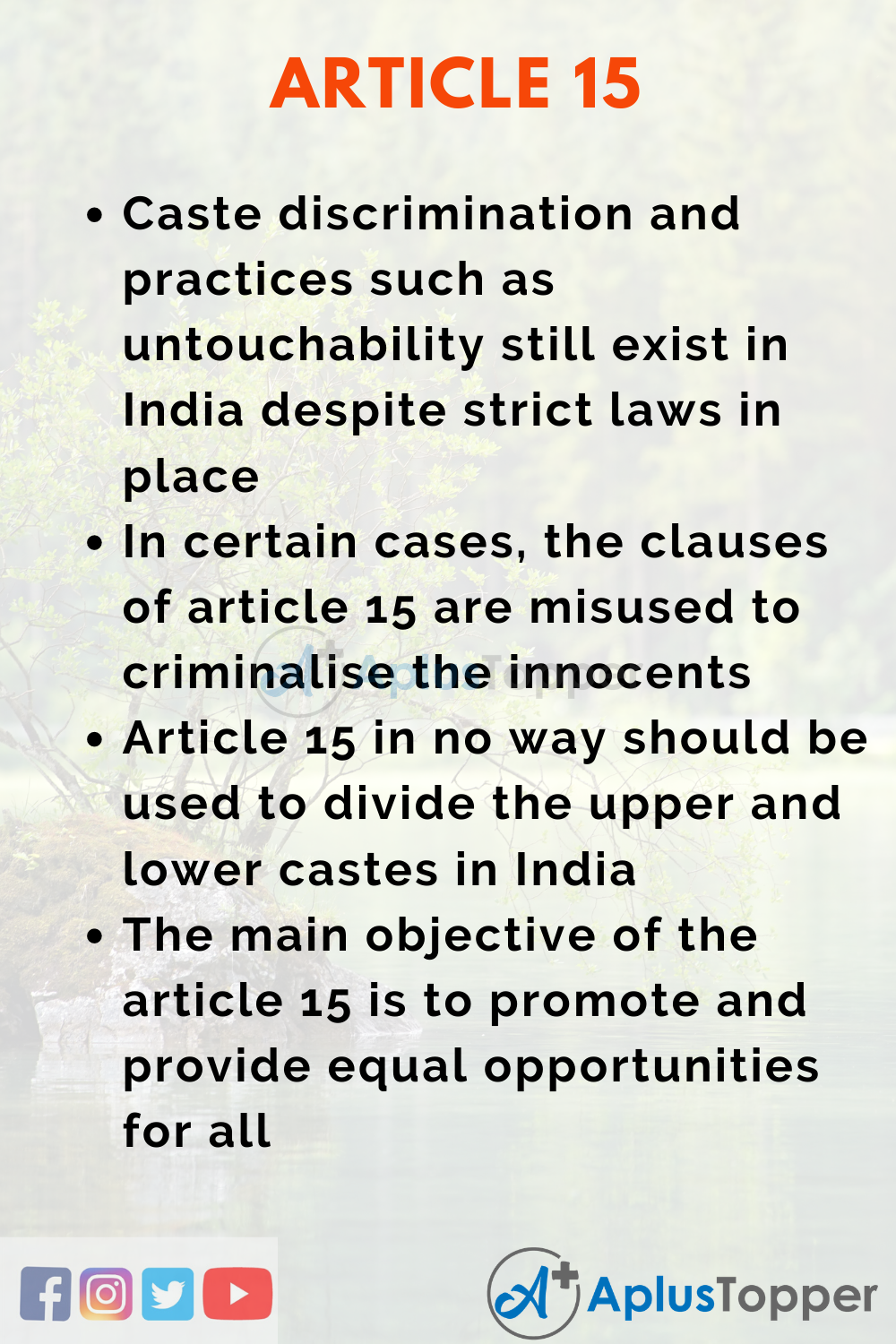 Essay About Article 15 of Indian Constitution